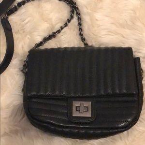 Handbags - Black Pebbled Leather Look Chain Crossbody Purse